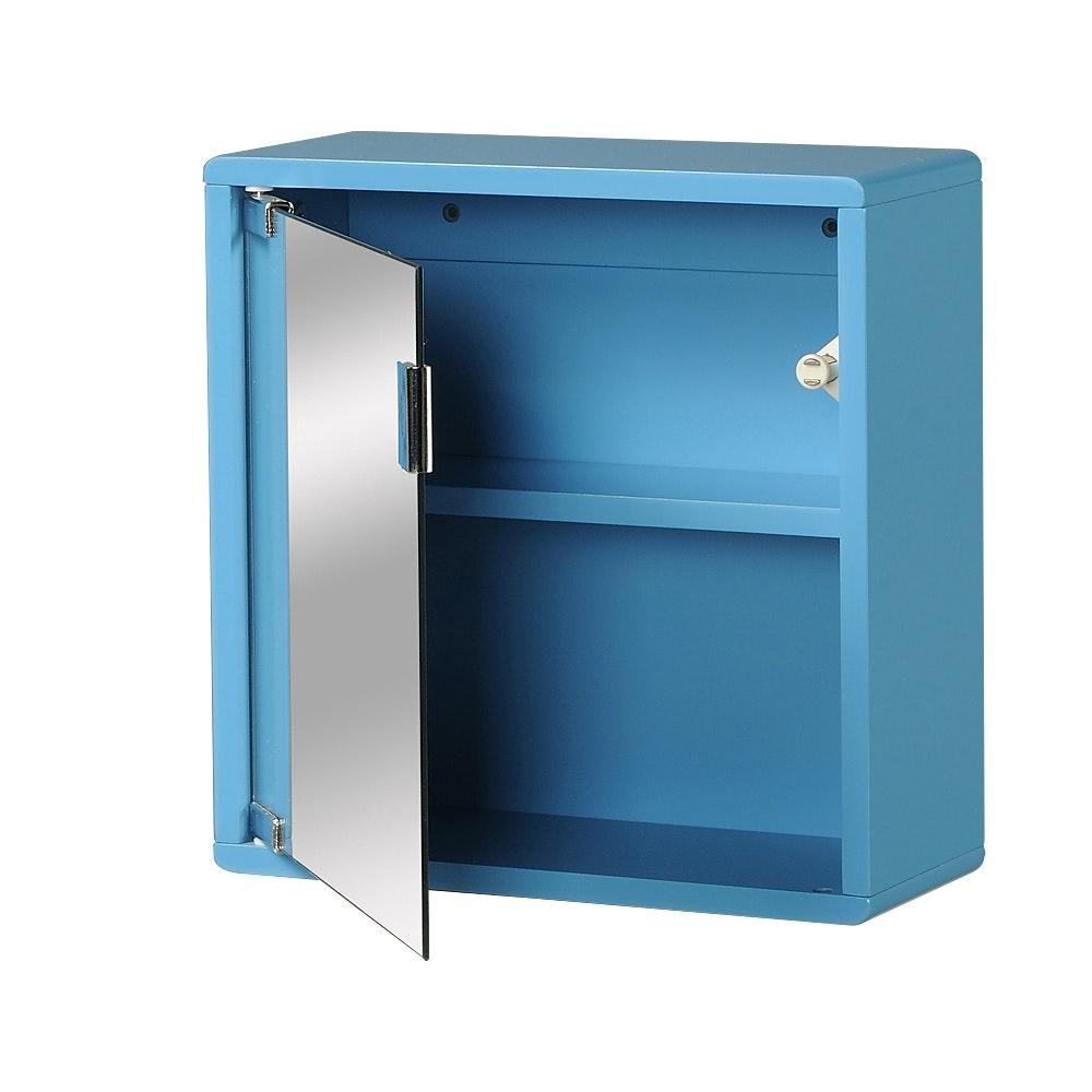 Väggskåp blått med spegel 30x30x12cm