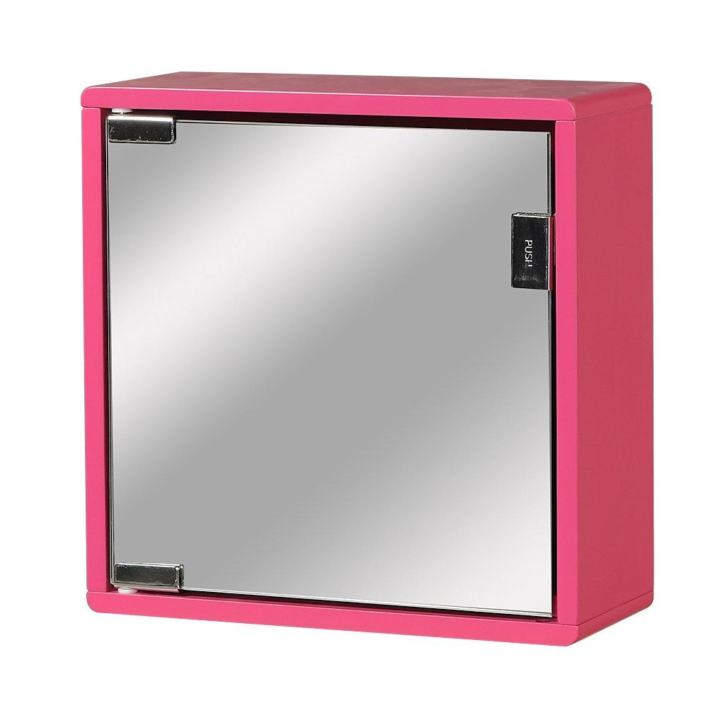 Väggskåp rött med spegel 30x30x12cm