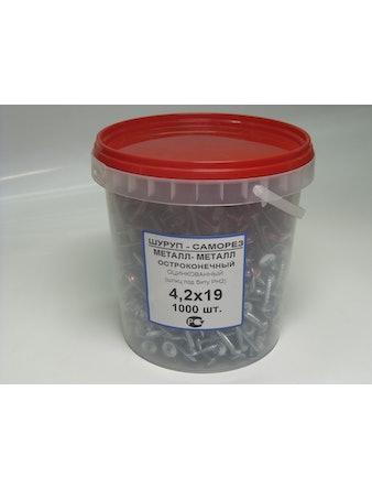 Саморез для тонколистовыx пластин 1000 шт 4,2 x 19 мм
