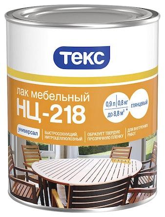 Лак мебельный ТЕКС НЦ-218 Универсал, глянцевый, 0,8 кг