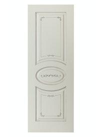 Дверное полотно глухое Interne Doors Севилья ПГ-80, эмаль белая патина № 17, 800 х 2000 мм