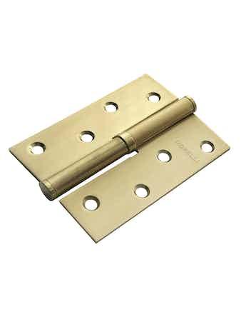 Петля стальная прямая 100x70х2,5 мат.золото левая