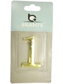 Цифра дверная Brante '1' на клеевой основе, золото