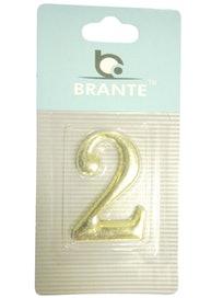 Цифра дверная Brante '2' на клеевой основе, золото