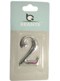 Цифра дверная Brante '2' на клеевой основе, хром