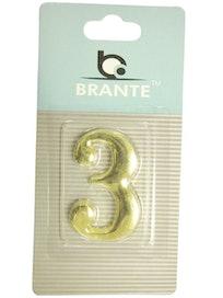 Цифра дверная Brante '3' на клеевой основе, золото