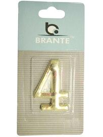 Цифра дверная Brante '4' на клеевой основе, золото