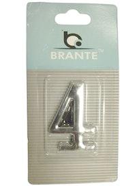 Цифра дверная Brante '4' на клеевой основе, хром