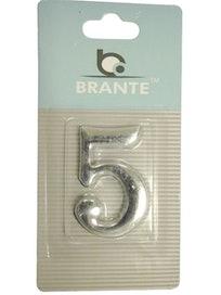 Цифра дверная Brante '5' на клеевой основе, хром