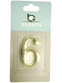Цифра дверная Brante '6' на клеевой основе, золото