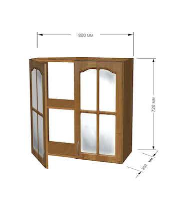 Модуль кухонный Ольха полка 80см витрина