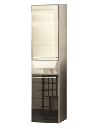 Шкаф-пенал правый Edelform Ginza 30, черный/белый