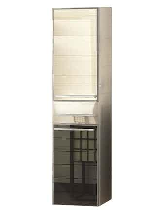 Шкаф-пенал левый Edelform Ginza 30, черный/белый