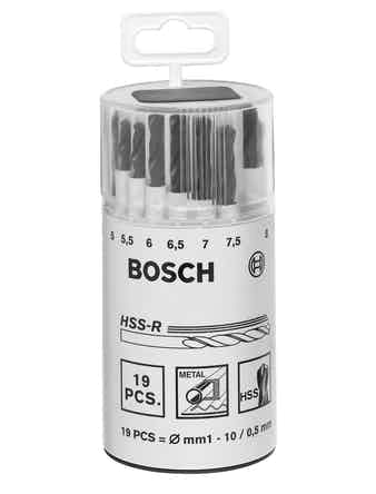Metallborrset Bosch HSS-R Plexi 1-10mm 19-Pack