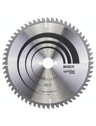 Cirkelsågsklinga Bosch Optiline T60 250X3,2X30mm