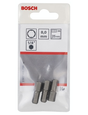 Bitsset Bosch Sexkant 8 25 mm 3-pak