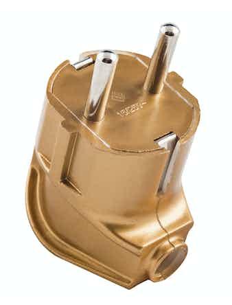 Вилка евр боковой ввод золотая 16A 250В