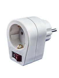 Адаптер одно гнездо 16A с/з выключатель