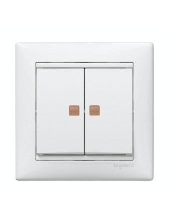 Выключатель Legrand Valena, 2-клавишный, с индикатором, белый