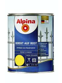 Эмаль по ржавчине Alpina Direkt Auf Rost RAL1021, глянцевая, 0,75 л, желтая