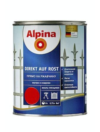 Эмаль по ржавчине Alpina Direkt Auf Rost RAL3000, глянцевая, 0,75 л, красная