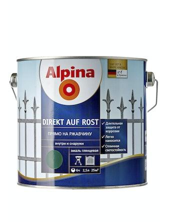 Эмаль по ржавчине Alpina Direkt Auf Rost RAL6005, глянцевая, 2,5 л, зеленая