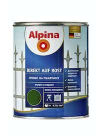 Эмаль по ржавчине Alpina Direkt Auf Rost RAL6005, глянцевая, 0,75 л, зеленая
