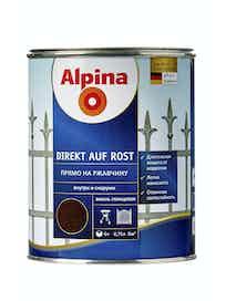 Эмаль по ржавчине Alpina Direkt Auf Rost RAL8017, глянцевая, 0,75 л, шоколадная