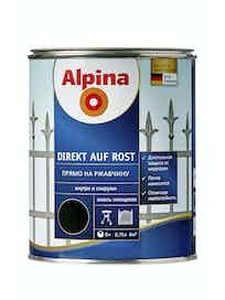 Эмаль по ржавчине Alpina Direkt Auf Rost RAL9005, глянцевая, 0,75 л, черная