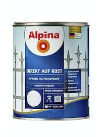 Эмаль по ржавчине Alpina Direkt Auf Rost RAL9006, глянцевая, 0,75 л, серебристая