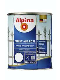 Эмаль по ржавчине Alpina Direkt Auf Rost RAL9016, глянцевая, 0,75 л, белая