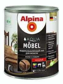 Лак водоразбавляемый для мебели Alpina Aqua Mobel, глянцевый, 0,75 л