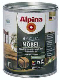 Лак водоразбавляемый для мебели Alpina Aqua Mobel, шелковисто-матовый, 0,75 л