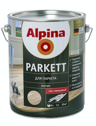 Лак для паркета Alpina Parkett, глянцевый, 5 л