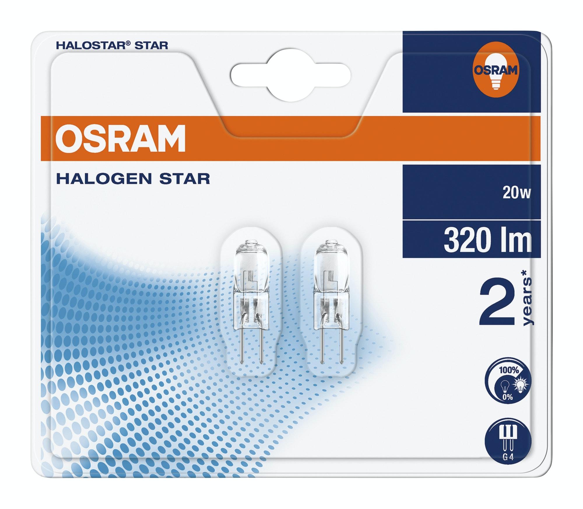 Halogenlampa Osram Star 20W G4 Clear 2-Pack