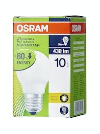 Лампа энергосберегающая Osram шар, 9 Вт х E27, теплый