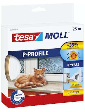 Tätningslist Tesa P-List 5,5mmX9mmX25m Vit