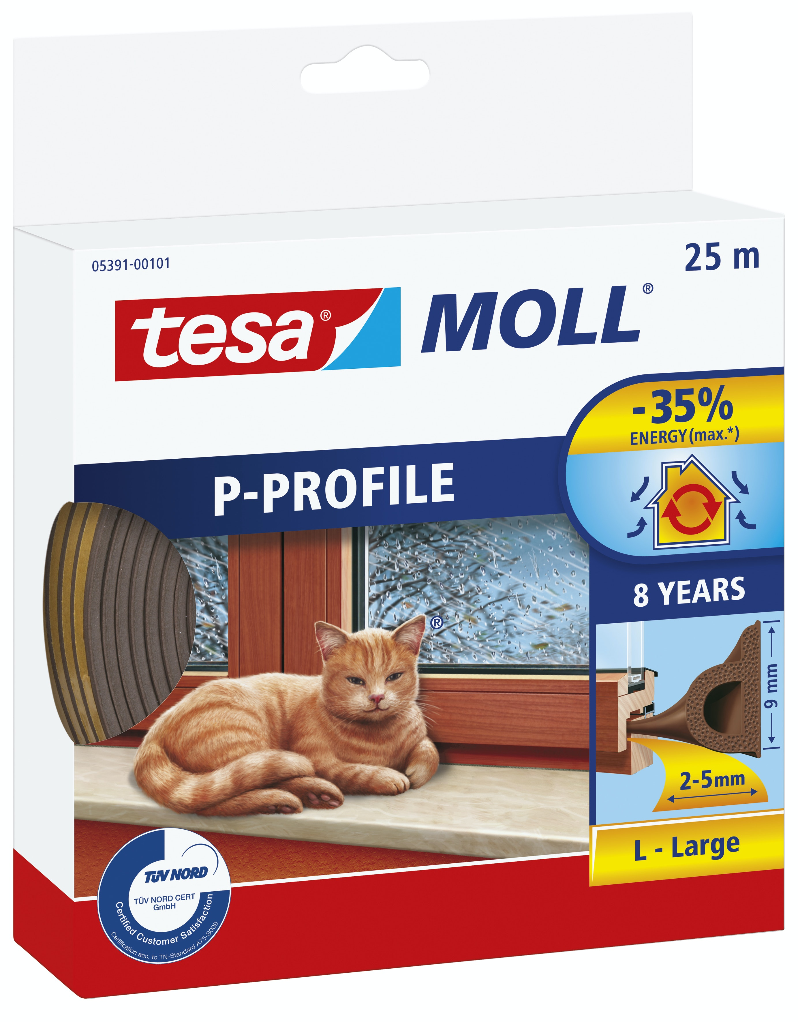 Tätningslist Tesa P-List 5,5mmX9mmX25m Brun