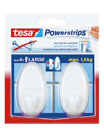 Krokar Tesa Powerstrips Large Oval Vit 2-Pack