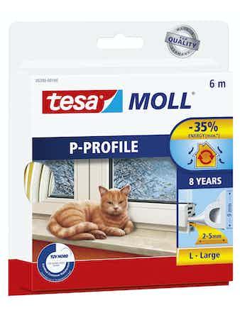 Tätningslist Tesa P-List 5,5mmX9mmX6m Vit