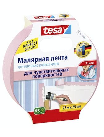 Лента малярная для ровных краев для чувствит. пов-тей розовая 25м х 25мм Tesa