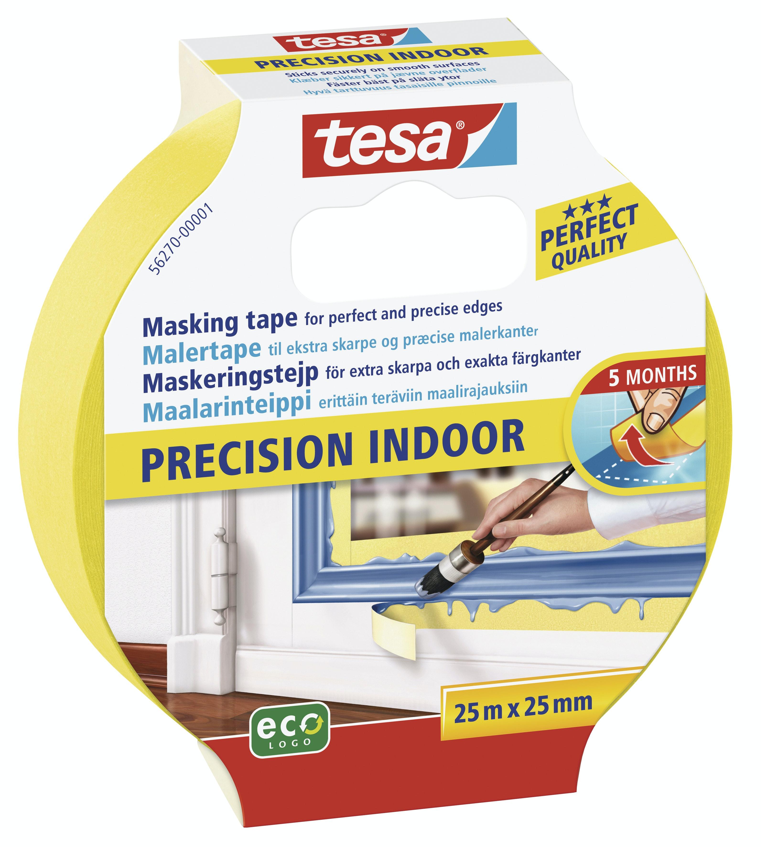 Maskeringstejp Tesa Precision Indoor Gul 25mmx25m