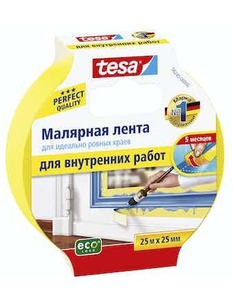Лента малярная для ровных краев для внутренних работ желтая 25м х 25мм Tesa