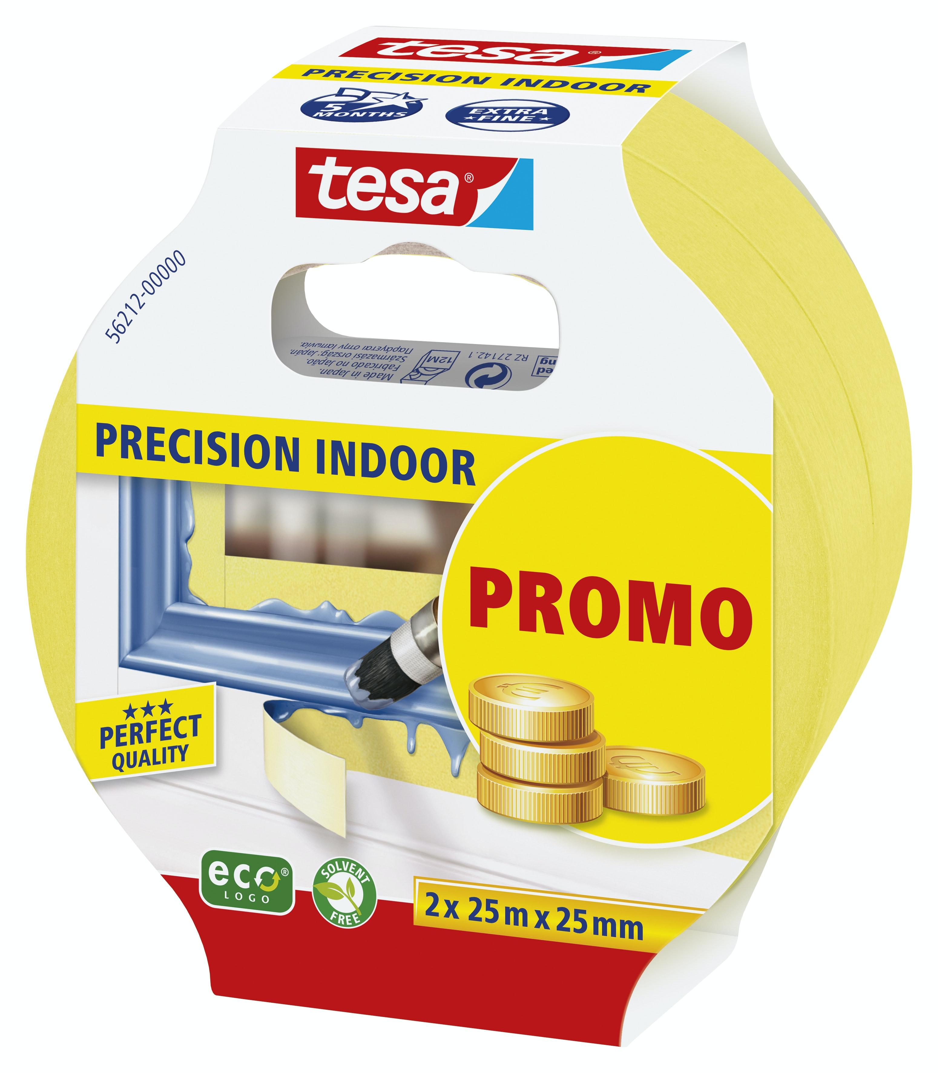 Maskeringstejp Tesa Precision Indoor Promo 2-Pack Gul 2x25mmx25m