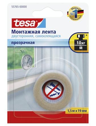 Лента монтажная двусторонняя прозрачная 1,5м х 19мм Tesa