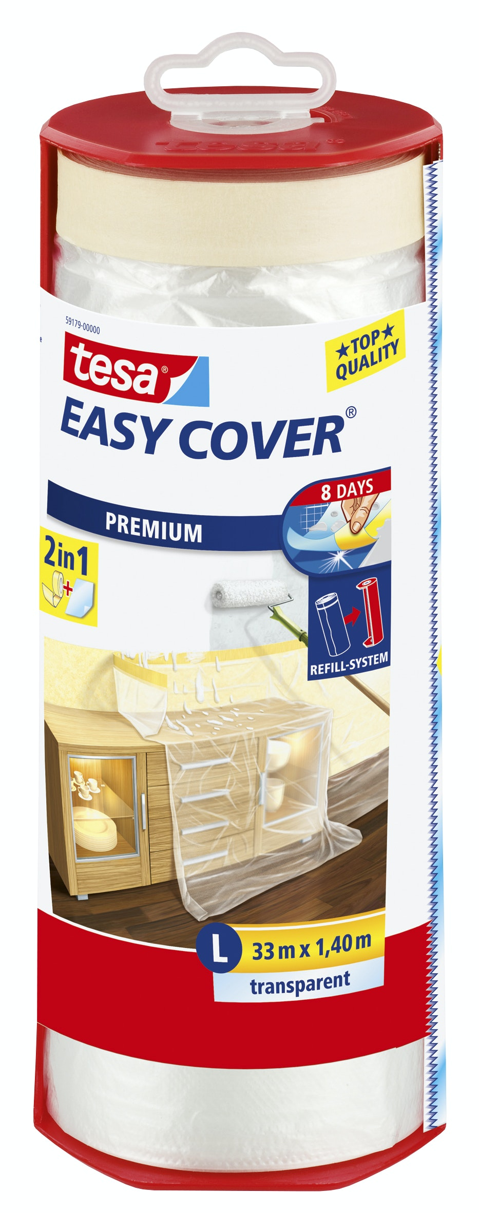Plastfolie Tesa Easy Cover Premium Transparent 1400mmx33m