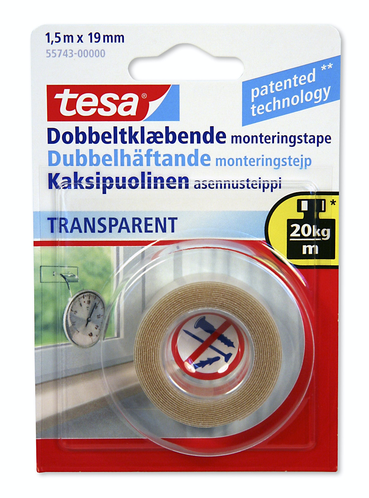 Monteringstejp Tesa Dubbelhäftande Transparant