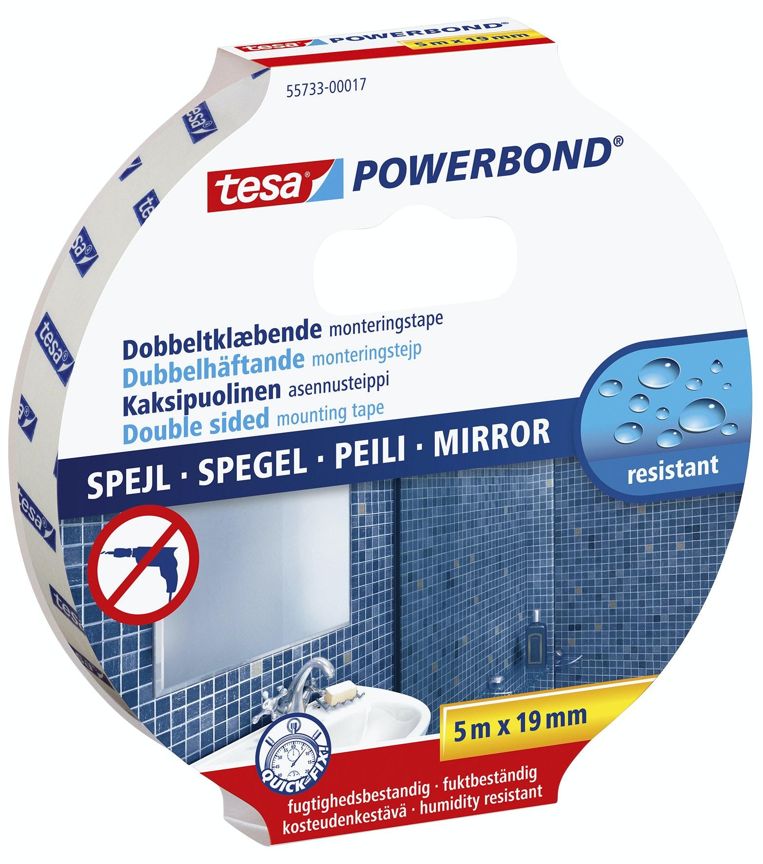 Monteringstejp Tesa Powerbond Spegel Dubbelhäftande 19mmx1,5m