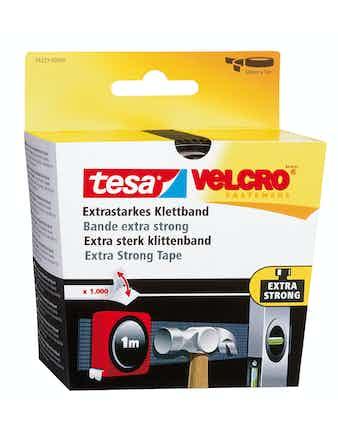 Kardborrband Tesa Velcro Extra Stark Svart 1m