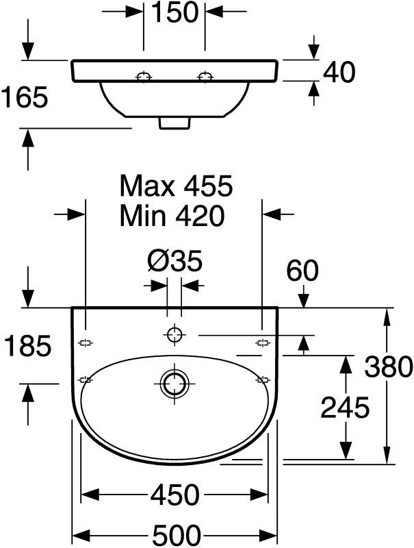 Tvättställ Gustavsberg Nautic 5550 Vit 500X380